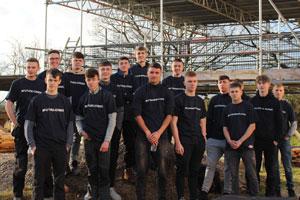 Preston college students wearing their Dickies shirts