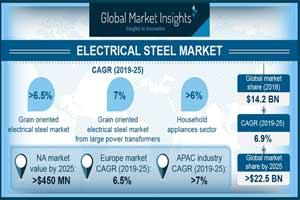 A diagram showing the market for Grain-oriented electrical steel