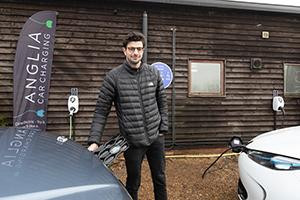 Charlie Jardine, Founder and CEO at EO Charging at the first Plug in Suffolk charging location