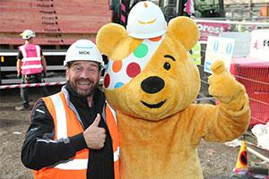 Nick Knowles, DIY SOS host, with Pudsey