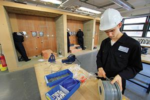 Student at Hartlepool College Learning Electrical Installations